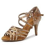 SWDZM Women's Latin Dance Shoes with Rhinestone Peep-Toe Salsa Chacha Ballroom Performance Practice Wedding Dance Shoes Model Bronze 3 1/3'' Heel,6 M US
