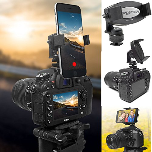 """ChargerCity 360° Adjustable Camera Flash Hot Shoe Tripod Phone Mount for Apple iPhone XR XS X 11 Pro Max SE Samsung Galaxy S10 S20 Note LG OnePlus & All Smartphone up to 3.6"""" Wide"""