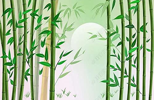 Papel Pintado Pared Papel Dormitorio Salon Decoración de Paredes Luna De Bambú Del Bosque De Bambú Verde Fotomural 3D Papel Tapiz Custom Mural Pared 350x250cm XXL