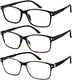 Reading Glasses 3 Pair Stylish Quality Readers Spring Hinge Glasses for Reading for Men and Women +1.25