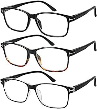 Success Eyewear Reading Glasses 3 Pair Stylish Quality Readers Spring Hinge Glasses for Reading for Men and Women +1.25