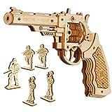 ROKR Pistolet en Bois à Assembler Model - Pistolet à Construire avec Elastiques - Puzzle mécanique en Bois pour Enfants et Adultes (Corsac M60)
