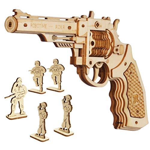 ROKR Gummiband Pistole Holzmodell Bausatz | 3D Puzzle Holzbausatz Mechanische Modell für Kinder, Jugendliche und Erwachsene (Corsac M60 Revolver)
