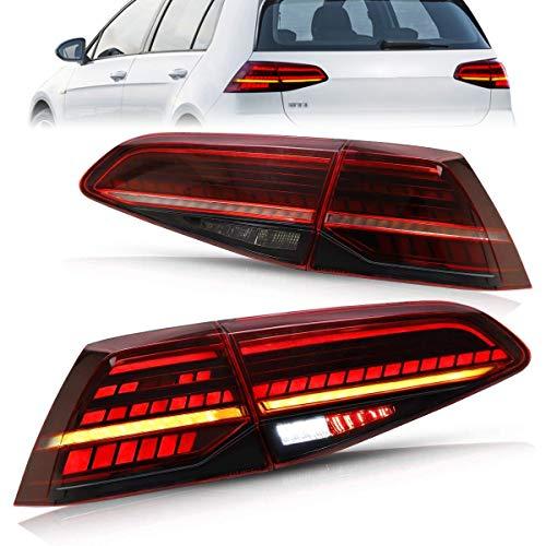 UXZEB LED Rückleuchten für Volkswagen di Golf 7 7.5 VII MK7 MK7.5 GTI TSI GTD R 2012 -2019 Lightbar Heckleuchten, Rücklicht mit Dynamik Blinker, mit mit E-Report (Rot)
