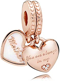 Mother & Daughter Hearts, Silver Enamel & Clear CZ