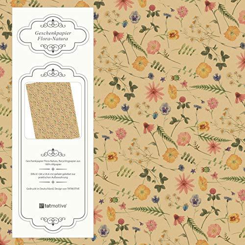 Flora-Natura Geschenkpapier Vintage Blumen floral 5 Bögen 84 x 59 cm, Öko Recycling-Papier nachhaltig gedruckt, für Geburtstag Geschenk-Papier