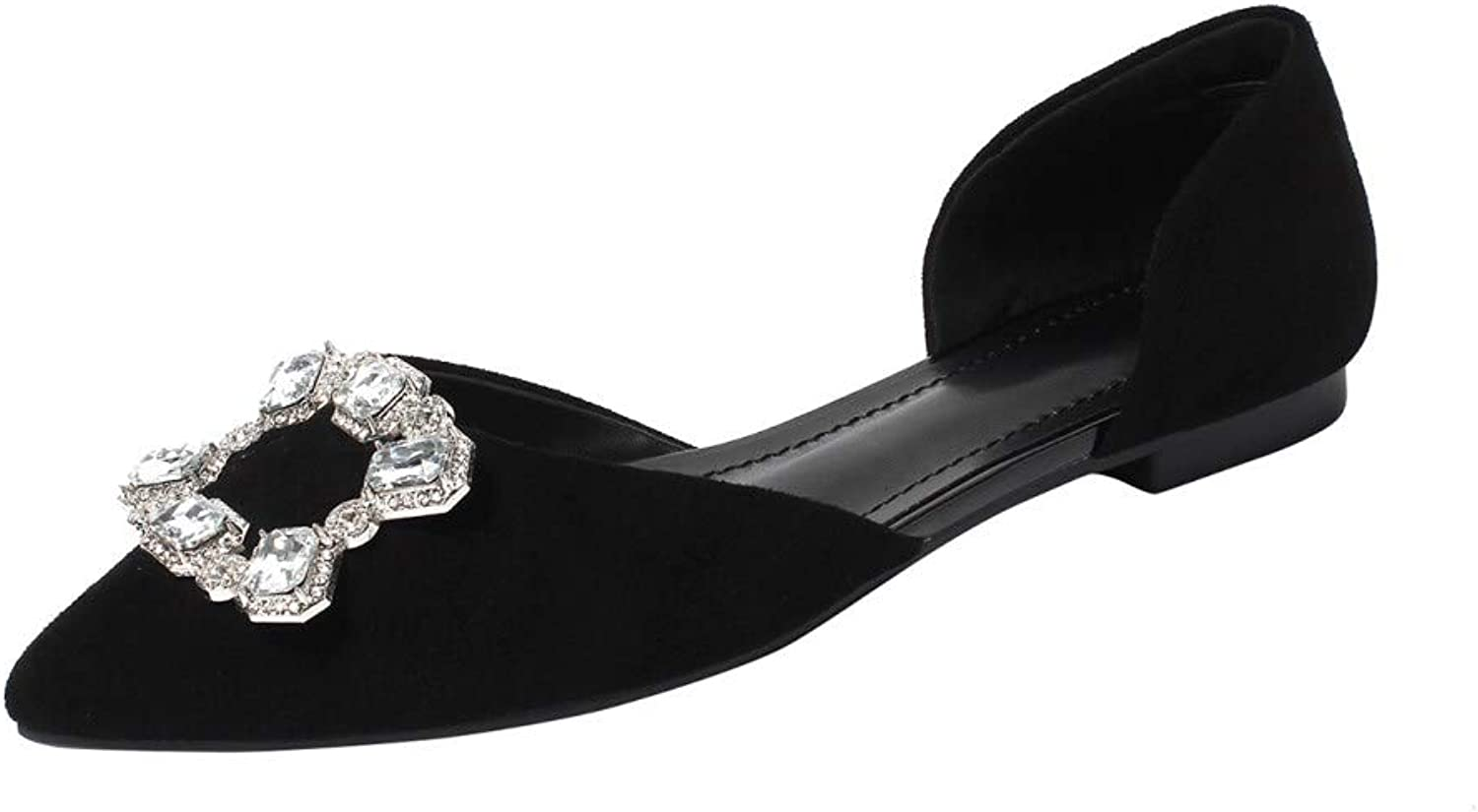 Nine Seven Women's Genuine Leather Pointed Toe Flat Heel Handmade Comfortable Walking Pumps with Crystal