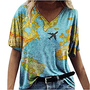 Summer V Neck Tshirt for Women Funny World Map Print Shirts Summer Casual Casual Loose Fit Short Sleeve Graphic Tee Tops