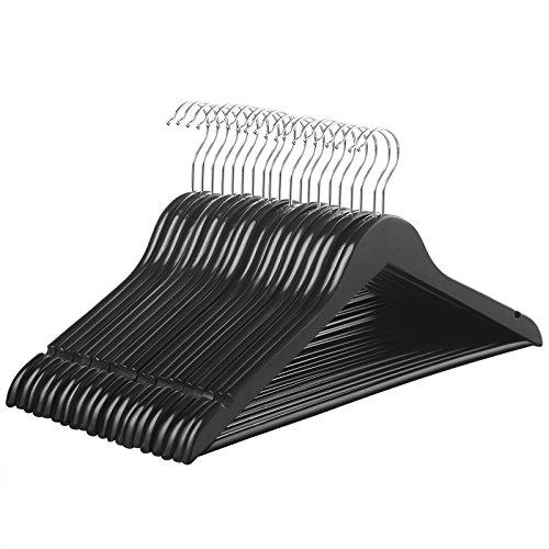 SONGMICS Pack de 20 Perchas de Madera de Arce Gancho Cromado, para Pantalones Faldas Trajes, Color Negro CRW02B-20
