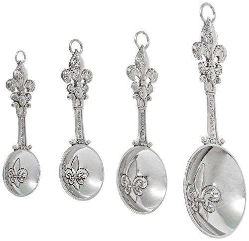 Ganz 4-Piece Set, Fleur De Lis Measuring Spoon, One Size, silver