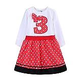 Mud Kingdom 3rd Birthday Girl Dress I Am Three Gift Red Long Sleeve