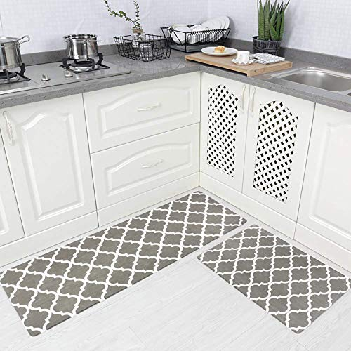 Homcomoda 2Piece Anti Fatigue Kitchen Floor Mat Comfort Heavy Duty Standing Mats Waterproof Non Slip Kitchen Rugs Indoor Outdoor(17