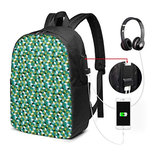 Cute Colored Cubes Design Modern Natural Shapes Laptop Backpack Business Travel Backpack with USB Charging Port & Headphone Interface for College Student