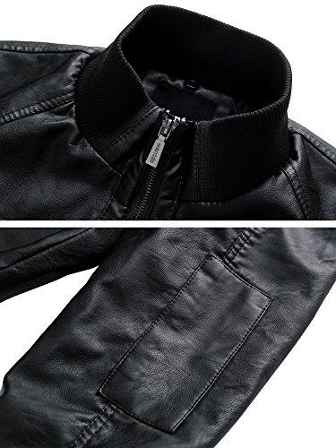 Wantdo Chaqueta de Piel Sintética para Hombre Ligera con Capucha Extraíble Anorak de Motocicleta con Varios Bolsillos Abrigo Casual de Textura Mate Vintage Negro Grueso XL