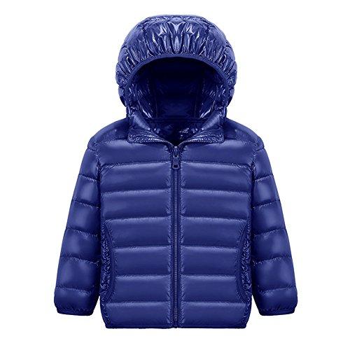 Chic-Chic Blouson Manteau Léger Enfant Garçon Fille Doudoune à Capuche - Veste à Manches Longues Sport bébé Ski Vêtement 13-14ans Navy Bleu