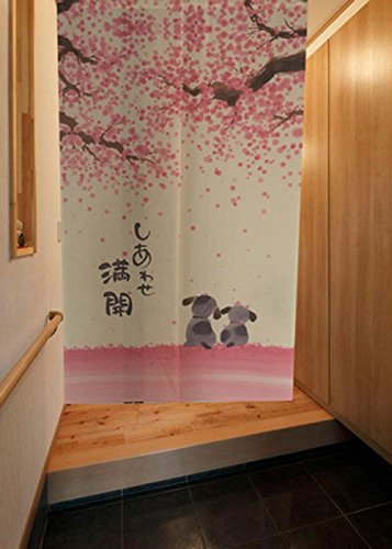 LIGICKY Japanische Noren Lang Vorhang Türvorhang Tapisseri für die Heimtextilien Raumteiler, Rosa 85 x 150 cm (Glücklich Hund Kirsche Blühen)