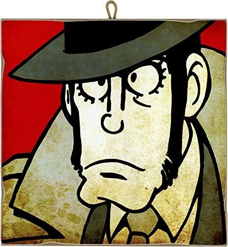 KUSTOM ART Quadro Quadretto Stile Vintage Serie Fumetti Lupin III: Koichi Zenigata (Ispettore) da Collezione Stampa Laser su Legno Alta qualità Made in Italy - Idea Regalo