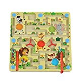 FunnyGoo Laberinto M Beads Laberinto Magnetic Pen Board Juegos + Flying Flight Chess Game Toy (Animales en el zoológico)