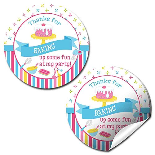 Baking & Cooking Birthday Party Thank You Sticker Labels, 40 2' Party Circle Stickers by AmandaCreation, Great for Party Favors, Envelope Seals & Goodie Bags