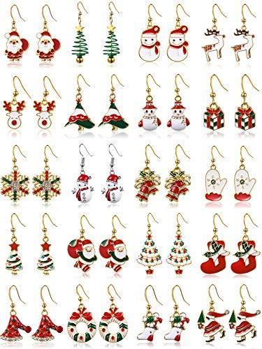 20 Pairs Christmas Theme Dangle Earrings Set Xmas Tree Elk Snowman Santa Hook Earrings for Women Girls