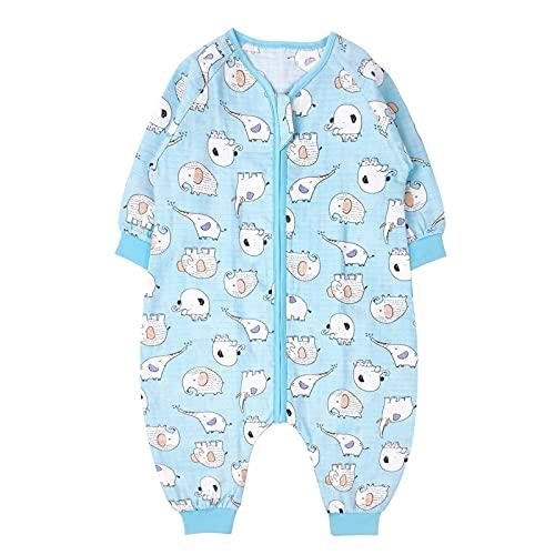 Baby Schlafsack mit Füßen Schlafanzug Sommer Baumwolle Langarm Pyjama Babykleidung Overall für Jungen Mädchen Babyschlafsack 2-3 Jahre Blau Elefant