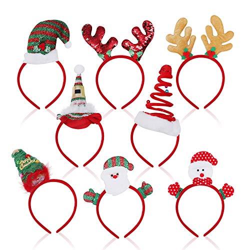 Weihnachts Kopfschmuck - Haarreifen Weihnachten (8 Stk) – Haarschmuck mit verschiedenen Weihnachtsmotiven: Weihnachtsmann, Rentier (2x), Spirale, Nikolaus Mütze, Weihnachtsbaum, Schneemann, Elfen Hut