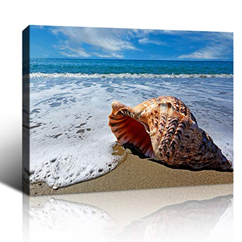 Purple Verbena Art Canvas Print Painting Seaside Conch Picture Wall Art Nature Sea Snail Beach Seascape Photo Modern Art Gifts for Living Room Bedroom Home Wall Decoration Artwork,Framed 10x14 Inches