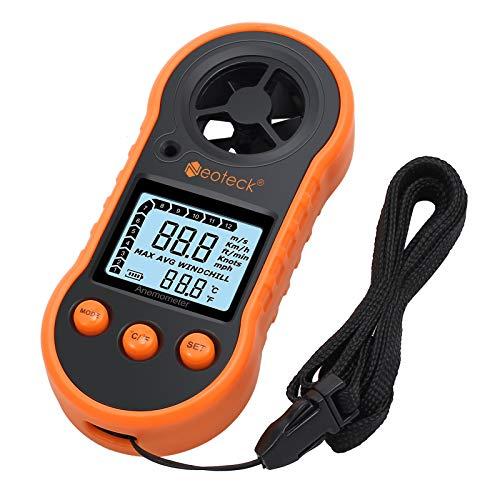 Neoteck Windmesser Windmessgerät Anemometer Digital LCD Luftstrom Geschwindigkeitsmessung Thermometer mit Hintergrundbeleuchtung für Windsurfen Drachenfliegen Segeln Surfen Angeln