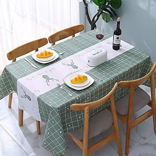 ATUIO Mantel Impermeable, Mantel para Mesas Rectangulares de [137 x 137 cm], [Plástico PEVA Respetuoso con el Medio Ambiente], Mantel Reutilizable para Comedor, Cocina, [Verde]