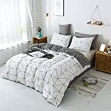 Emily Girl Kids' Duvet Cover Sets - 3 Piece (1 Duvet Cover & 2 Pillowcases), Soft Cotton Geometric Stripe Bedding Set with Zipper Closure Corner Ties for Boys Girls Teen, White and Black, Twin