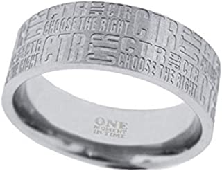One Moment In Time J133 Sizes 5-11 Tabloid Stainless Steel Ring Mormon CTR LDS