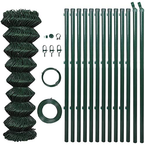 Anself Chain Link Fence Garden Fence PVC Coated 1,5 x 15 m Green with Posts & All Hardware