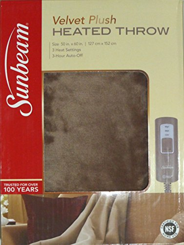 Sunbeam Velvet Soft Plush Heated Throw Blanket Various Colors Size: 50 x 60 3 Heat Setting Remote Control Auto Off (Cocoa (Beige/Tan/Brown))