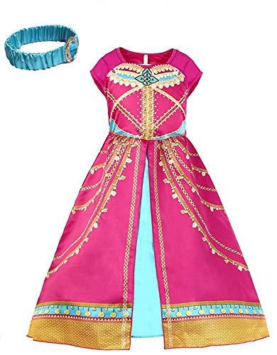 wetry Disfraz de Princesa Jasmine para Niñas, Disfraz árabe Niña Vestido Aladdin para Fiesta, Traje de Halloween Carnaval, 5 Opciones 1-14 años