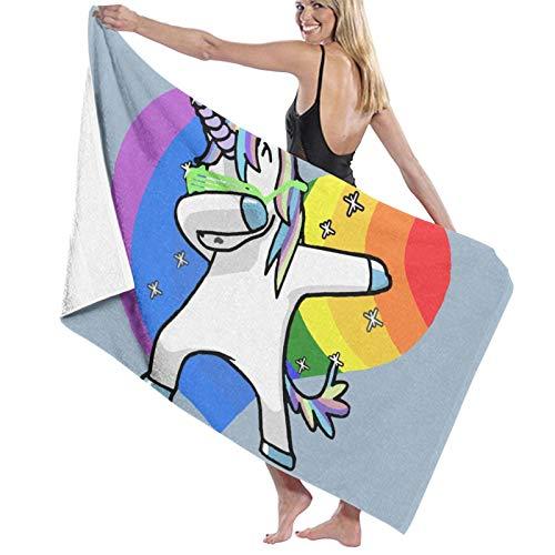 Rainbow Gay Pride Dabbing - Toallas de baño de unicornio de secado rápido, suave, toalla de ducha de playa, 130 x 80 cm