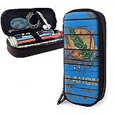 Estuche de lápices con textura de madera de la bandera de Oklahoma Bolsos de lápices escolares Bolso de maquillaje estacionario Lápiz Cuero de PU-1H-FVC