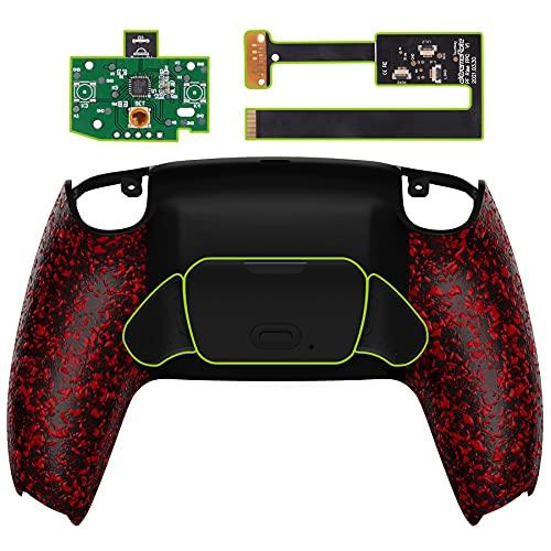 eXtremeRate RISE Remap Kit per Playstation 5 Joystick Scheda&Cover Posteriore&Tasti Posteriori per PS5 Controller,Back Buttons Attachment Compatibile con Dualsense Controller-Rosso Antiscivolo