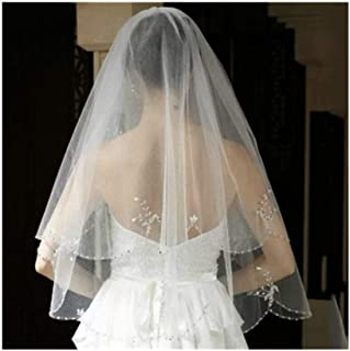 ZYFZD White or Ivory Short Wedding Veil with Crystal Edge with Comb 2 Beaded Bride Bridal Veils (Color : Ivory)