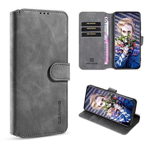 GoodcAcy Xiaomi Mi Pocophone F2 Pro Hülle+Panzerglas,Premium Leder Flip Schutzhülle Handyhülle Tasche Flip Hülle Brieftasche Etui handyhüllen für Xiaomi Mi Pocophone F2 Pro,Grau