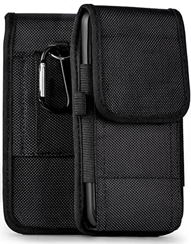 moex Agility Hülle für LG G8X ThinQ - Hülle mit Gürtel Schlaufe, Gürteltasche mit Karabiner + Stifthalter, Outdoor Handytasche aus Nylon, 360 Grad Vollschutz - Schwarz
