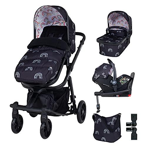 Cosatto Giggle - Juego de cochecito y silla de paseo (20 kg, desde el nacimiento hasta 20 kg, base para bebé, funda para lluvia, adaptadores, bolsa y saco de pie), arcoíris nocturno