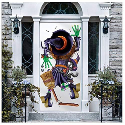 YYH Pegatinas Decorativas de Bruja de Halloween, Pegatinas de Puerta de Ventana de Vidrio, 77 × 200 cm