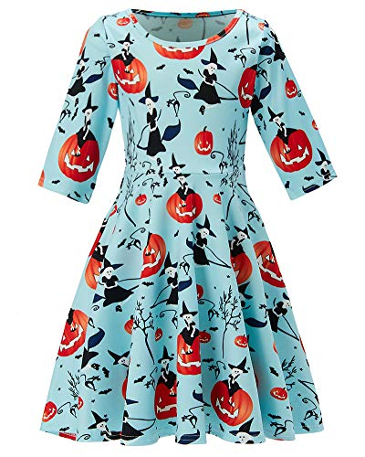 Girl's Witch Pumpkin Print 3 4 Sleeve Aline Dresses Infant Toddler Light Blue Twirly Dress Simple Street Dress Size 4 5 Costume a One-Piece Garment for Girl, Fall