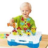 BeebeeRun Mosaico di Puzzle 3D 4 in 1, Giocattoli di Costruzione Montessori, Set di Giocattoli Elettrici per Trapano, Puzzle Giocattolo Fai Da Te DIY, Giocattolo per Costruzioni (193PCS)