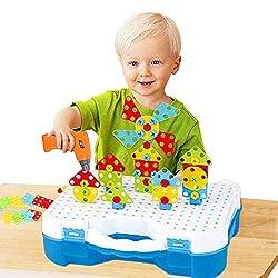 Mosaik Steckspiel 3D Puzzle Kinder Bausteine mit Drillen ,Kreatives DIY Spielzeug Spielwerkzeug für Kinder Mädchen Jungen193 PCS mit 18 Tier Karten