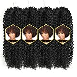 Afro Jerry Curl Crochet Hair Ombre Color Marlybob Afro kinky Curly Braiding Hair Extension 3X Braid Hair Blonde Short Synthetic Hair Styles (11' 4packs, 1B#)
