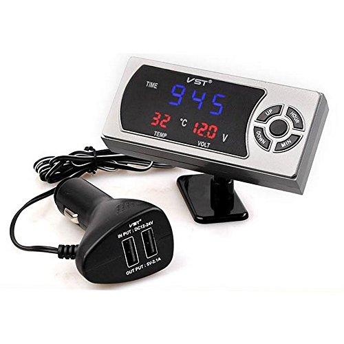 PolarLander 4 en 1 Reloj de Coche Termómetro de Voltaje Doble 3.5A Puerto USB Voltímetro Medidor de Voltaje con probador LED Pantalla