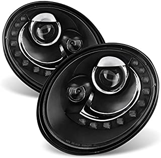 For VW Beetle Black Bezel DRL Daylight LED Strip Projector Headlights Front Lamps Replacement