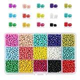 PHOGARY 3500 unids Granos de la semilla de Cristal, Colores Mezclados Pequeño Pony Perlas espaciadoras 4mm Redondo para la elaboración de Bricolaje