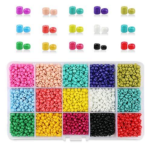 Phogary 3500 unids Granos de la semilla de Cristal, Colores Mezclados Pequeño...
